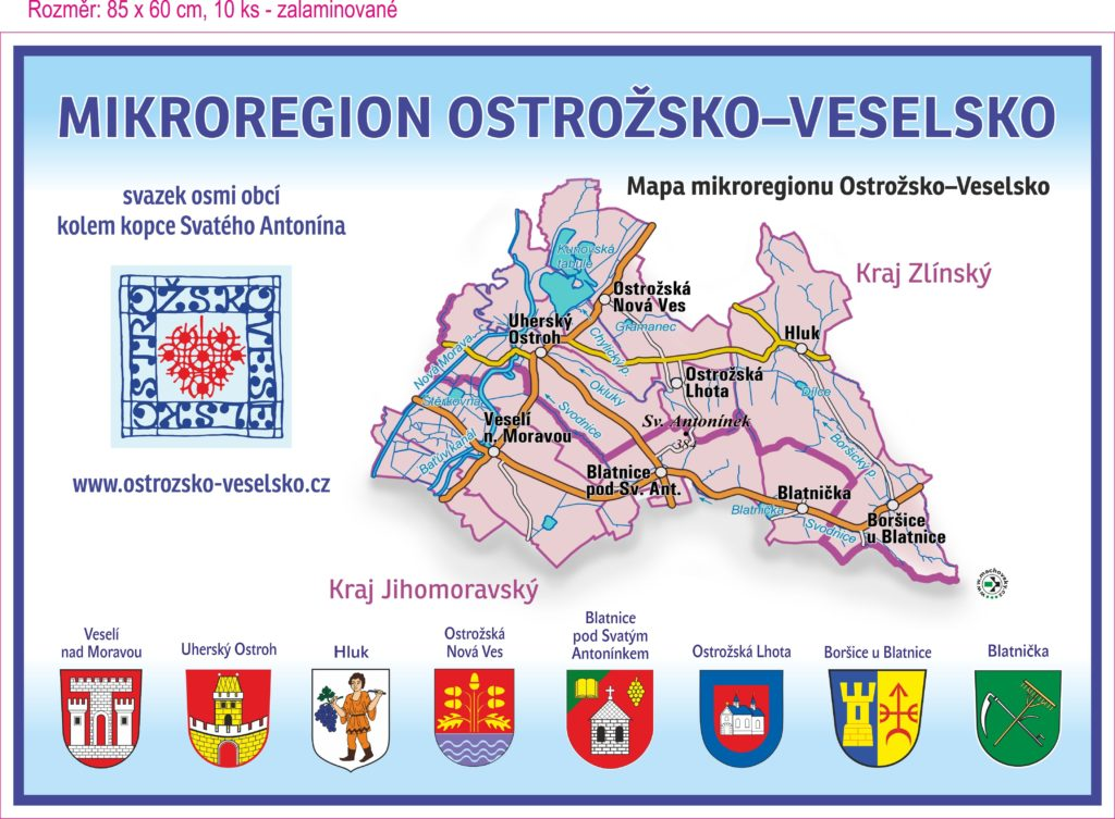 Mapa Mikroregionu Ostrožsko - Veselsko s členskými obci a jejich logy
